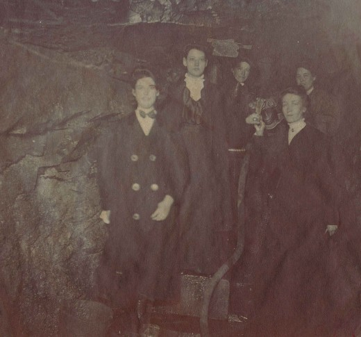 Some of the amazing women employees at Johnson & Johnson pose inside the company's water tunnel in 1908 during excavation.  From our archives.