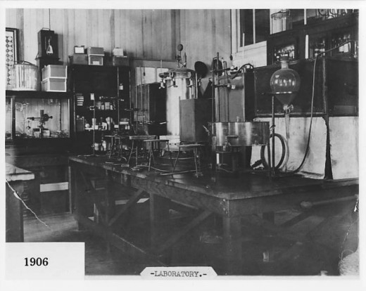 A corner of the Scientific Department lab at Johnson & Johnson in 1906, from our archives.  our first female scientist worked in this lab over 100 years ago.