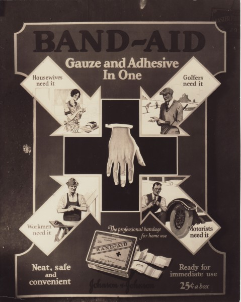 BAND-AID® Brand Adhesive Bandages ad, 1928, from our archives.