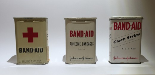 Some of the classic tins from the 1940s and 1950s in our archives that were part of the production of the segment on BAND-AID® Brand Adhesive Bandages.