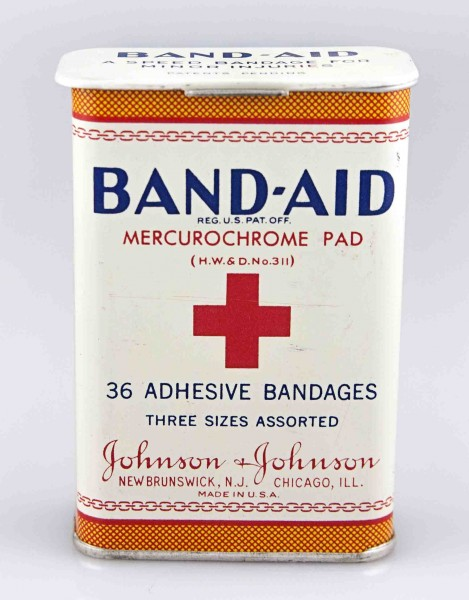 BAND-AID® Brand Adhesive Bandages 1930s tin, from our archives, one of the items featured in the CBS Sunday Morning segment.