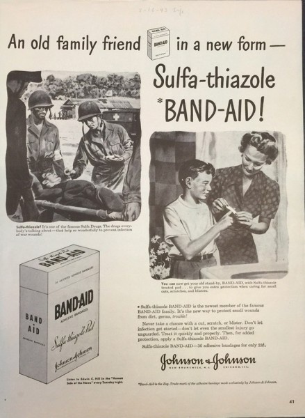 LIFE Magazine ad for BAND-AID® Brand Adhesive Bandages, 1943, from our archives.