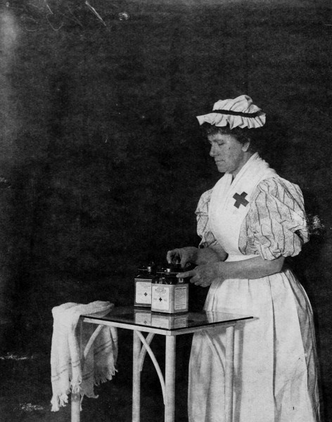 Johnson & Johnson employee demonstrating sterile gauze manufacturing, 1897, from our archives.
