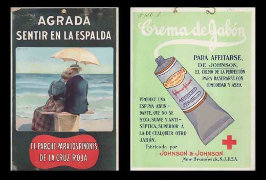 Two Spanish language ads from Johnson & Johnson, 1901 and 1910.  From our archives.
