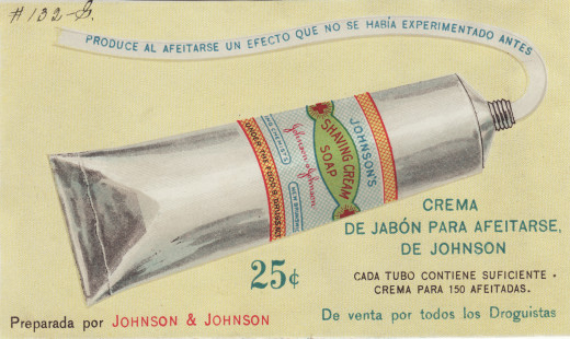 JOHNSON'S® Shaving Cream Soap ad, early 1900s.  From our archives.