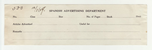 Johnson & Johnson Spanish Language Advertising Department form, from our archives.