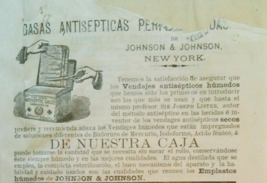 Top half of an undated very early sterile surgical dressings and absorbent cotton Spanish-language ad, from our archives.