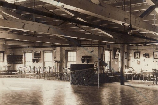 Exercise facilities in the Laurel Club building at Johnson & Johnson, early 1900s. From our archives.