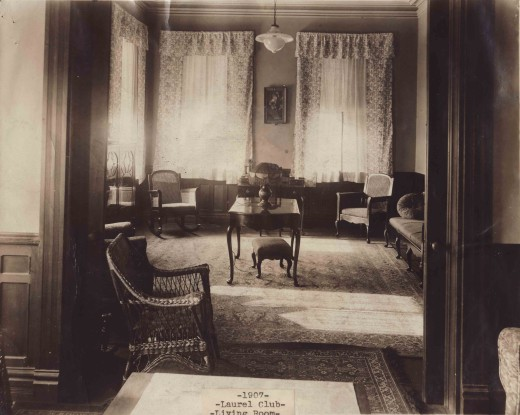 The Laurel Club living room in 1907, from our archives. No doubt this was the scene of many a discussion about the 1908 trip!