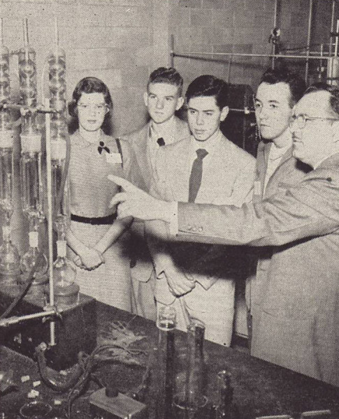 "High school students learn about careers in science at Johnson & Johnson during the ""A Day in Modern Industry"" program.  From our archives."