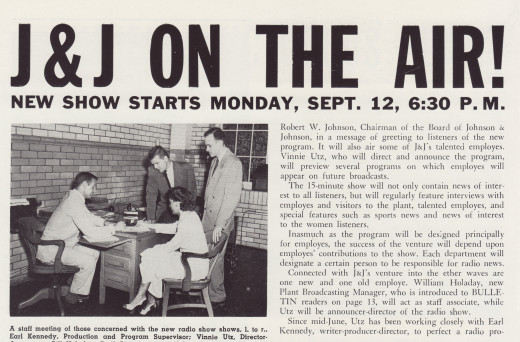 J&J On the Air!  Article in the Johnson & Johnson Bulletin about the new radio show.  From our archives.