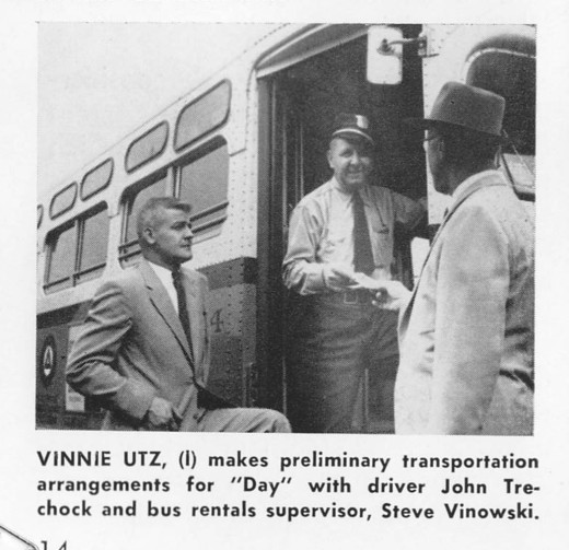 Vinnie Utz (left) checks transportation arrangements during the A Day in Modern Industry Program. From our archives.