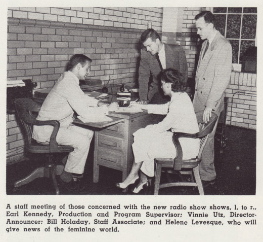 Vinnie Utz (standing, second from left) meeting with colleagues about the Johnson & Johnson radio show.  From our archives.