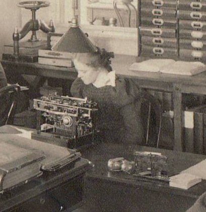 An employee at Johnson & Johnson in 1895 uses one of the disruptive technologies of the 19th century:  a typewriter.  From our archives.