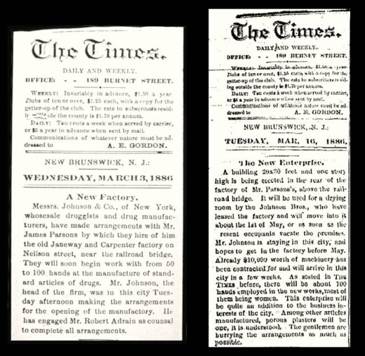 Articles about Johnson & Johnson in the March, 1886 New Brunswick Times.