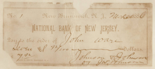 The first check ever written by Johnson & Johnson, signed by James Wood Johnson, from our archives.  Pay close attention to the way James Wood Johnson wrote the company's name:  the familiar and iconic Johnson & Johnson logo is based on his handwriting!