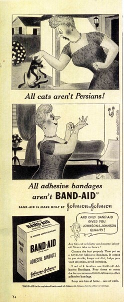 BAND-AID® Brand Adhesive Bandages cat ad, 1940s. From our archives.
