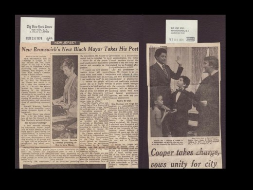 The New York Times and New Brunswick Home News announce Aldrage Cooper's inauguration as first African American mayor of New Brunswick, 1974, from our archives.