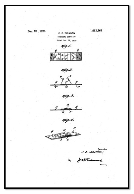 Patent for the BAND-AID® Brand Adhesive Bandage.  From the Johnson & Johnson Archives.