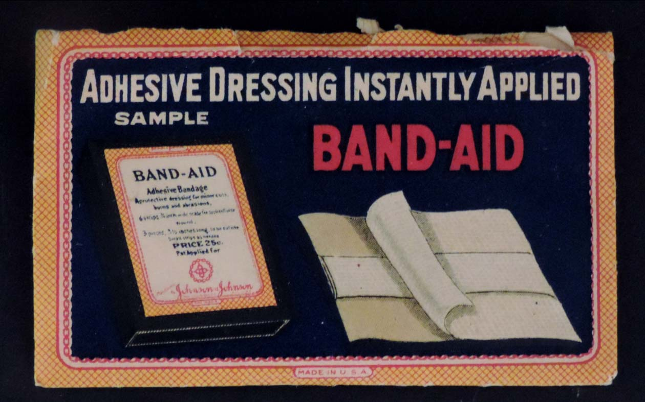 Very early sample package showing the product, from the Johnson & Johnson Archives.
