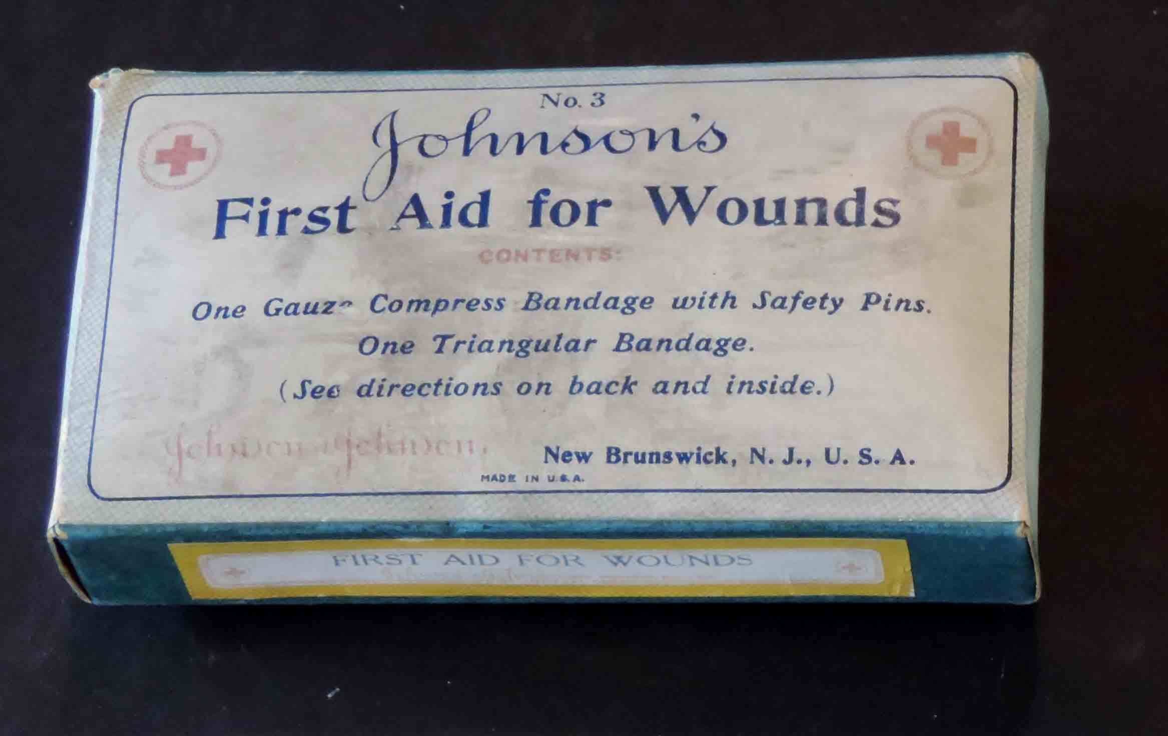 One of the Johnson & Johnson First Aid products that you can find in the National Air and Space Museum. This one's from our archives, but you can see one at the Smithsonian as well!  Image: Johnson & Johnson Archives.