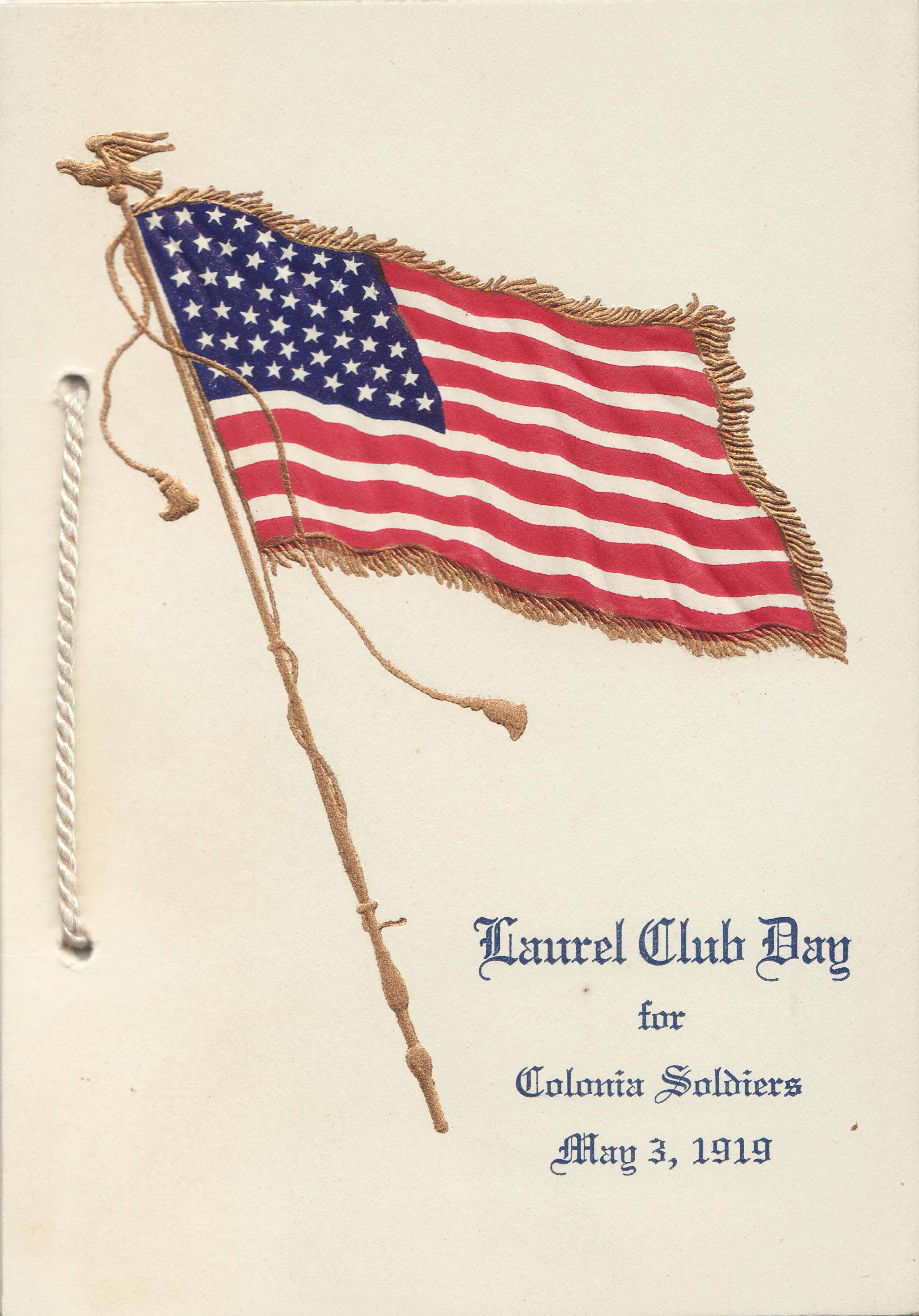 Booklet for the May 3, 1919 Laurel Club Day for veterans.  Image courtesy: Johnson & Johnson Archives.