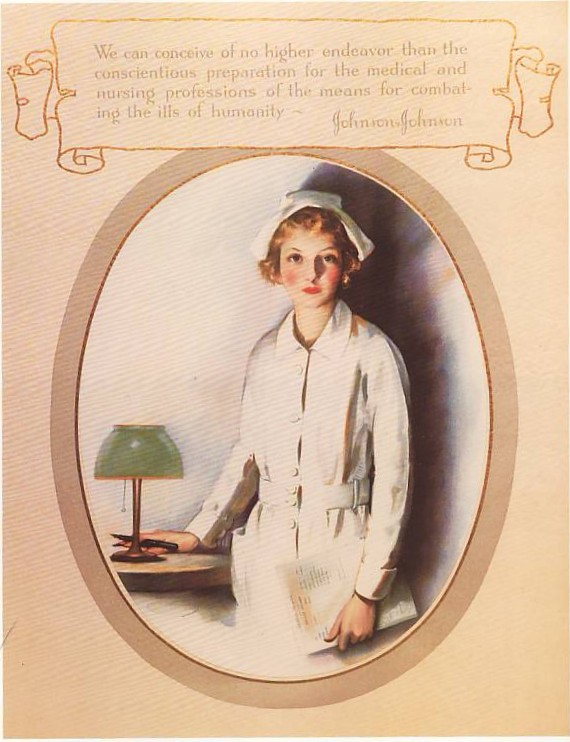 Johnson & Johnson ad in support of nursing, early 20th century.  Image courtesy: Johnson & Johnson Archives.