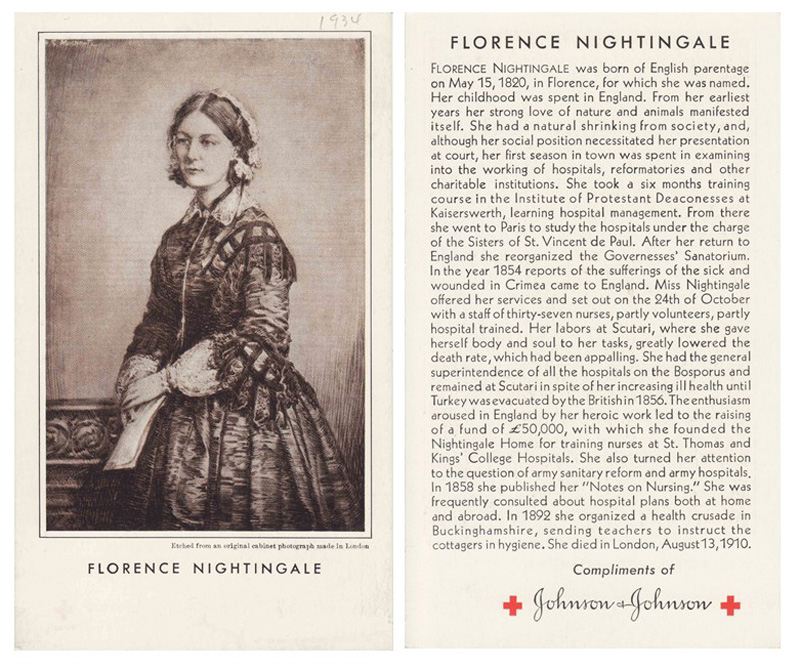 Front and back of a 1934 Johnson & Johnson post card honoring Florence Nightingale.  Image courtesy: Johnson & Johnson Archives.