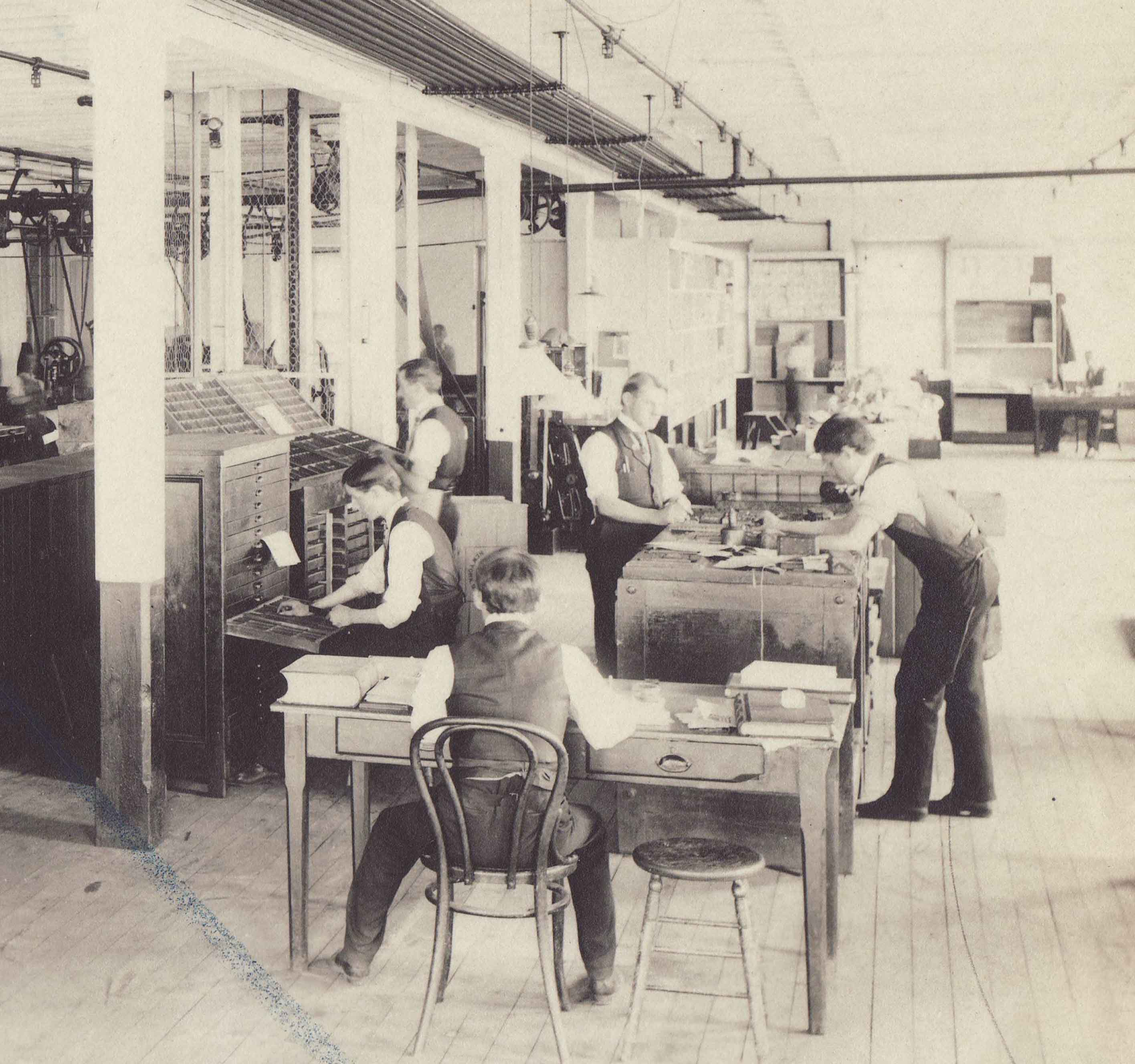 Employees in the Johnson & Johnson Printing Department, 1910s